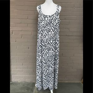 Calvin Klein Ikat print maxi tank dress 1X